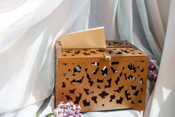 Весільний скринька для конвертів золота 1 Зображення